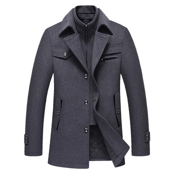 FAVOCENT 2019 New Fall and Winter Men's Coat Fashion Trend Leisure Durable High Quality Medium Solid Color Wool Long Overcoat