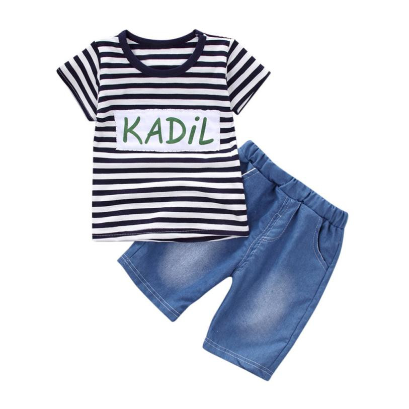 2018 Fashion summer children clothing Toddler Kid Baby Boys Girls Clothes Stripe Short sleeve T-shirt Tops+Shorts Pants Set NEW