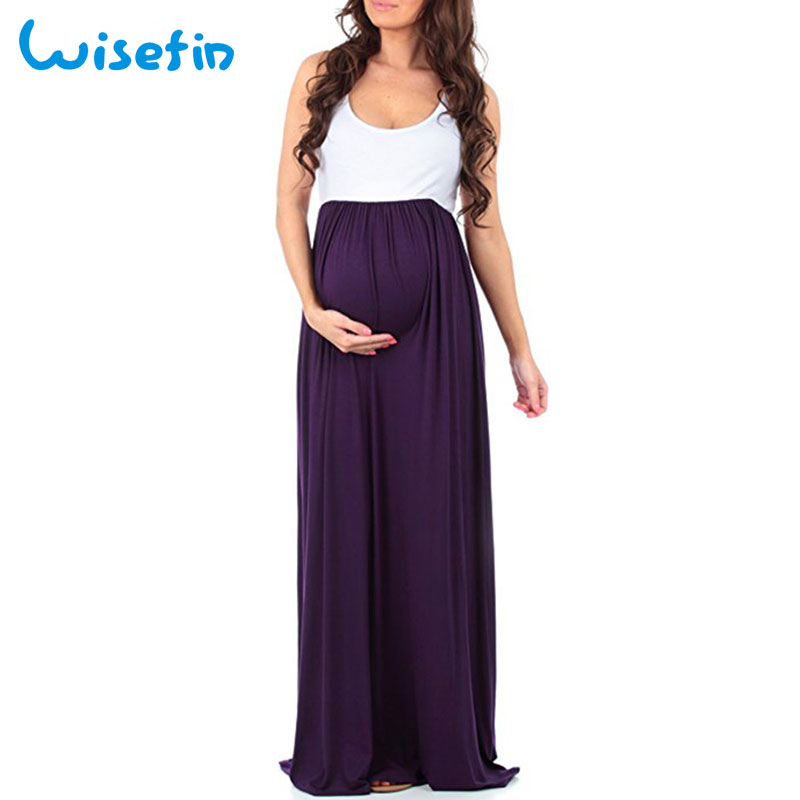 Wisefin Maternity Dresses Casual Pregnancy Clothing Patchwork Pregnant Dress Sleeveless Maternity Clothes Summer Women Tops 2018