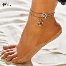 Beach personality 3D letter anklet jewelry silver double pendant set foot bare bracelet suitable for women