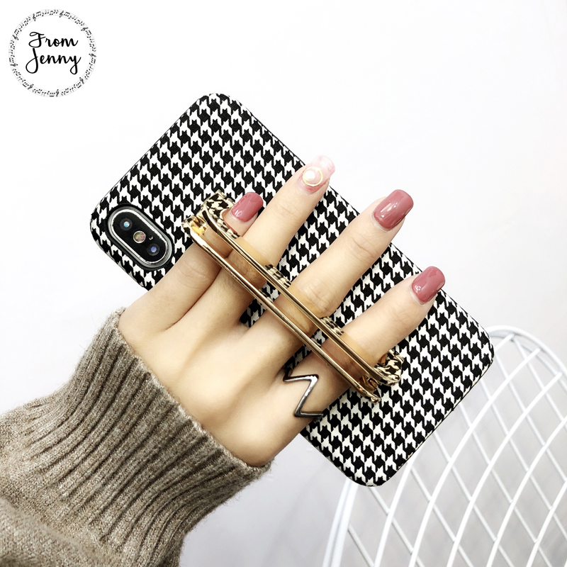 From Jenny Metal Holder Swallow gird Phone Case Capas for iPhone 7 7plus 6s 6plus 8 8plus X Autumn Check grid phone cases