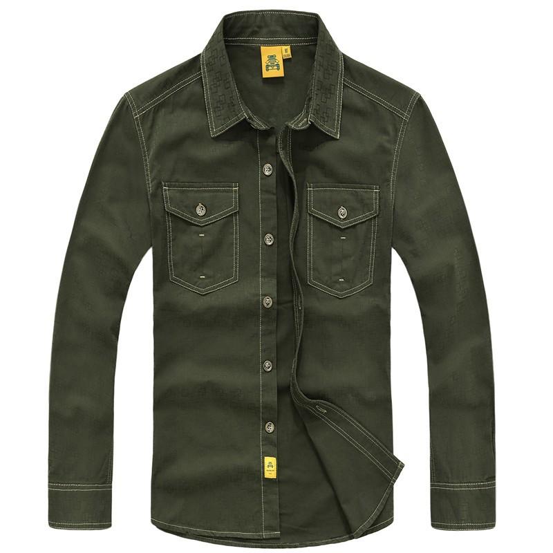 AFS JEEP 2015 Spring Autumn Fashion Men\'s Cotton Dress Shirts Camisa Hombre Plus Size Blouse Vestido Men Clothes Casual 2XL 3XL (20)