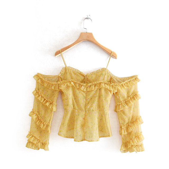 2019 women sweet butterfly sleeve floral print yellow sling blouse shirts pleated ruffles buckles chemise blusas tops LS3744 1