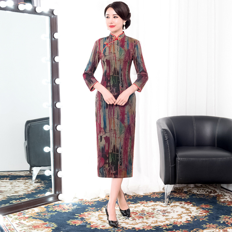 b38247eefbf90 Mandarin Parti Robes Chinois 2019 Sexy Traditionnel Marron Col Cheongsam  Polyester D hiver Femmes gris Lady ...