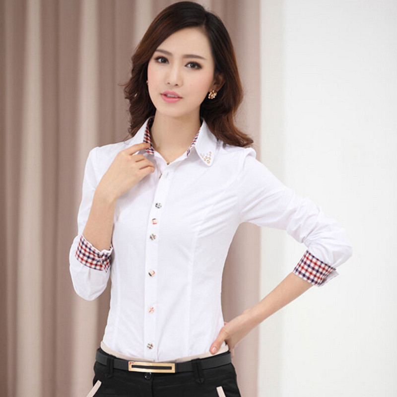 5d964340 2015 OL Women Office Shirts Ladies' Long Sleeve Shirts Women Work Shirts S  4XL-in Blouses & Shirts from Women's Clothing on Aliexpress.com | Alibaba  Group