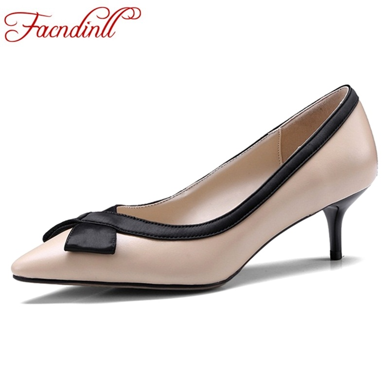 FACNDINLL 2018 spring summer dress shoes women pumps genuine leather high heels pointed toe bow-tie wedding shoes ladies pumps facndinll genuine leather sandals for