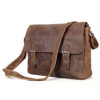 Vintage Crazy Horse Genuine Leather Men Messenger Bags Cowhide Leather Shoulder Bag Crossbody Bag Casual Male