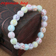 2pcs Hollow Cross Carved Acrylic Round Religious Spacer Beads Beaded bracelet 10mm Jewelry DIY B-69