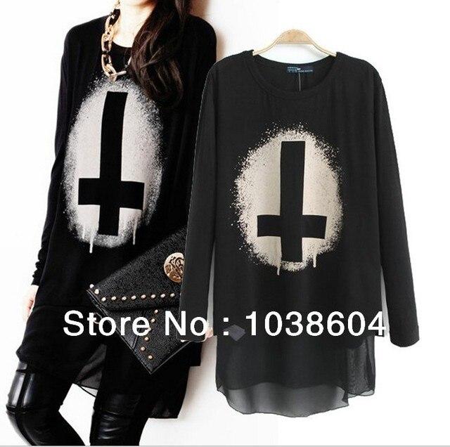 85b7dfb8a540 Novelty Long Sleeve Women Chiffon Blouse Black Punk Style Cross Pattern  Layered Top for Ladies
