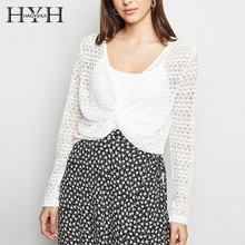 HYH Haoyihui Women Sexy Bohemian Beach Style Tops 2019 New Summer Knit Breaf Solid Hollow Out Thin Deep Vneck Overcoat
