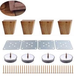 4 pces 6cm altura de madeira sólida ângulo direito trapézio móveis pernas sofá banco armário pés sofá cômoda poltrona pé