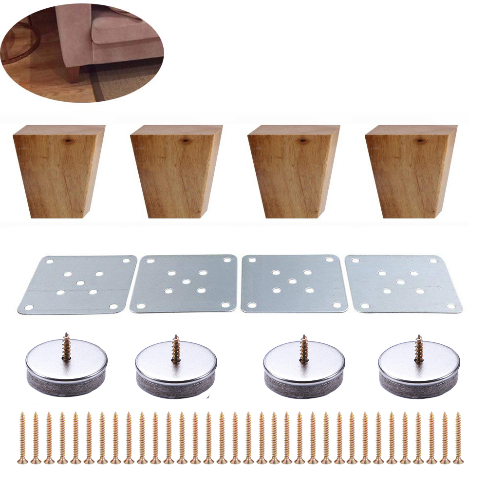 4pcs 6cm Height Solid Wooden Right Angle Trapezoid Furniture Legs Sofa Bench Closet Cabinet Feet Couch Dresser Armchair Foot