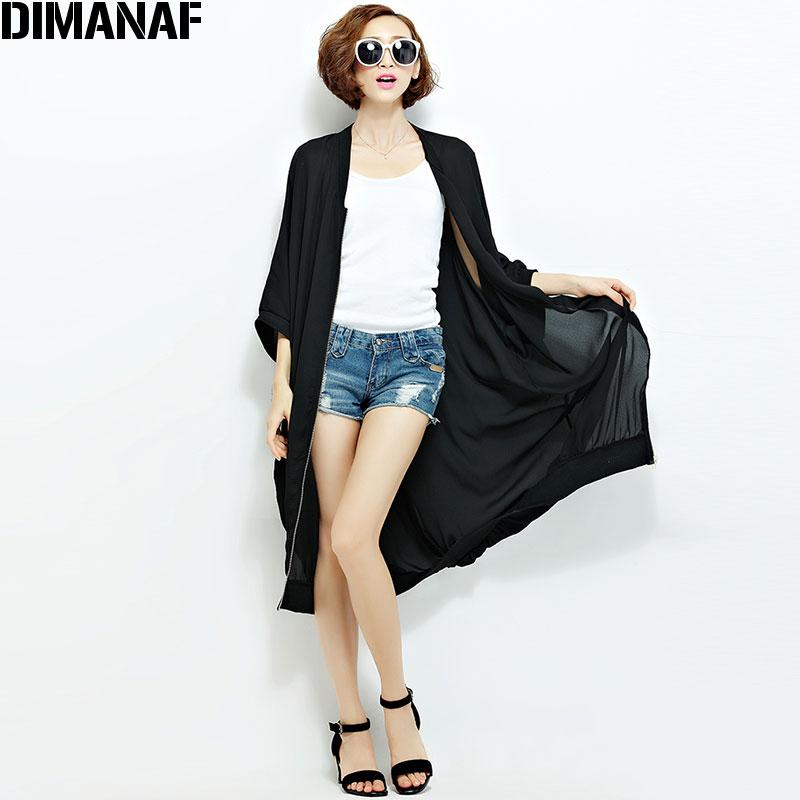Ljeto Šifon Kaputi Ženska Duge džemper Plus veličina Čvrsta - Ženska odjeća - Foto 4