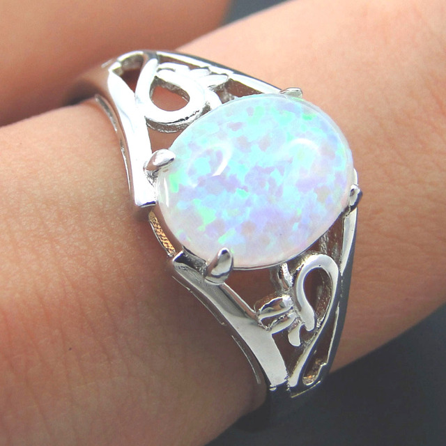 Fashion Silver Jewelry White fire opal Ring 100% 925 Sterling Silver Jewelry Wed