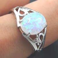Mode Silber Schmuck Weiß feuer opal Ring 100% 925 Sterling Silber Schmuck Hochzeit Ringe Frauen Ringe Größe 5/6 /7/8/9/10/11