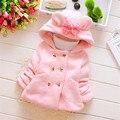 Outono Inverno da Menina Infantil Crianças Double Breasted Princesa Com Capuz Jacket Coats Outwears casaco de Presente de Natal Do Bebê da menina do algodão bonito