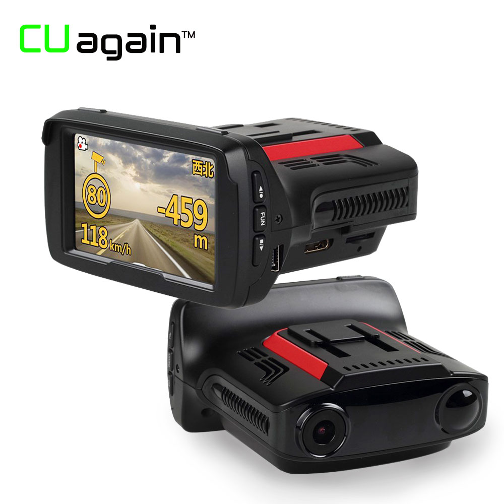 CUagain C76 DVR Dash Cam 3 in 1 GPS Radar Detector Video Recorder 1080P FHD Car Camera Night Vision 170Degree Monitor Registrar