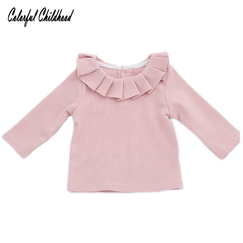 73107044e Children Clothing Baby Girls T-shirts Kids Long Sleeve Blouse Girl Ruffles Lotus  Leaf Collar