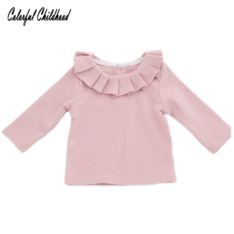все цены на Children Clothing Baby Girls T-shirts Kids Long Sleeve Blouse Girl Ruffles Lotus Leaf Collar Tees infant newborn Tops