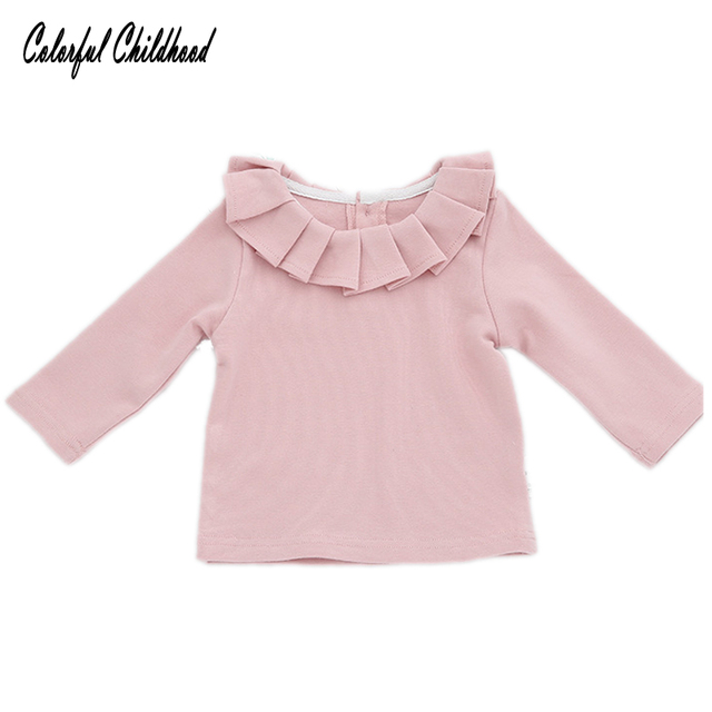 69528b769 Children Clothing Baby Girls T-shirts Kids Long Sleeve Blouse Girl Ruffles  Lotus Leaf Collar Tees infant newborn Tops