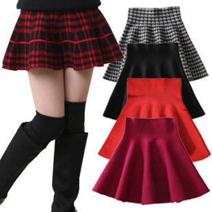 2016 Nuevas Muchachas Breve Faldas Primavera y Verano Niños Plisado Mini faldas Sólido y Plaid Princesa Niños Marca Falda 5 Colores, HC358