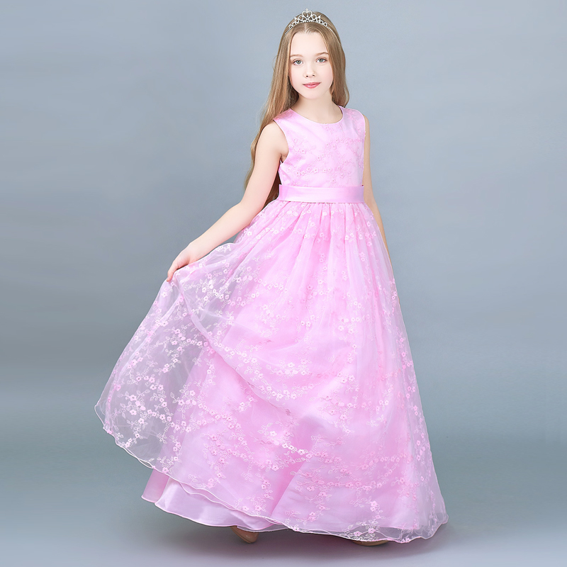 Girl Long Evening Dress Teenager Children Clothing Baby Flower Wedding Dress Kids Princess Dresses Clothes For Girls Party Wear 2018 new flower girl dress wedding lace big bow kids girls princess dress for evening party wear cute children birthday clothes