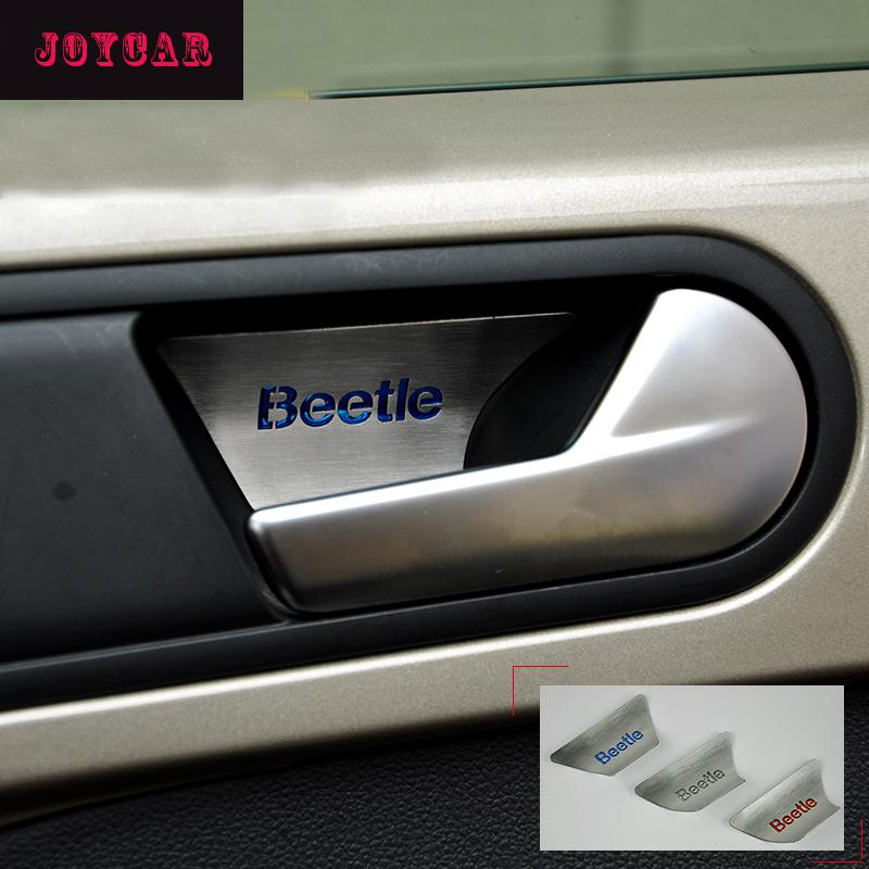 FOR VW VOLKSWAGEN BEETLE DOOR HANDLE BOWL TRIM COVER STICKER STAINLESS STEEL CAR ACCESSORIES 2pcs set stainless steel 90 degree self closing cabinet closet door hinges home roomfurniture hardware accessories supply