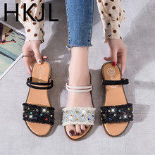 HKJL slippers female 2019 summer new Korean version of two wear rhinestone flat beach shoes students retro womens A745