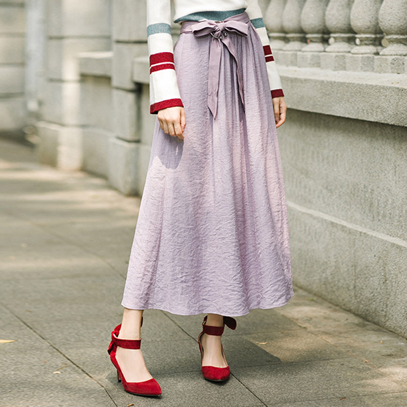 INMAN Autumn Polyester Fiber Slim Fit Casual Style Solid Color A Line Women Mid Long Skirt