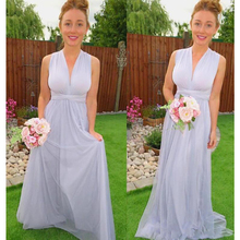 2017 Beach Bridesmaid Dresses V-neck Draped A-line Chiffon  vestido madrinha Floor Length Formal Wedding Guest Party Gowns