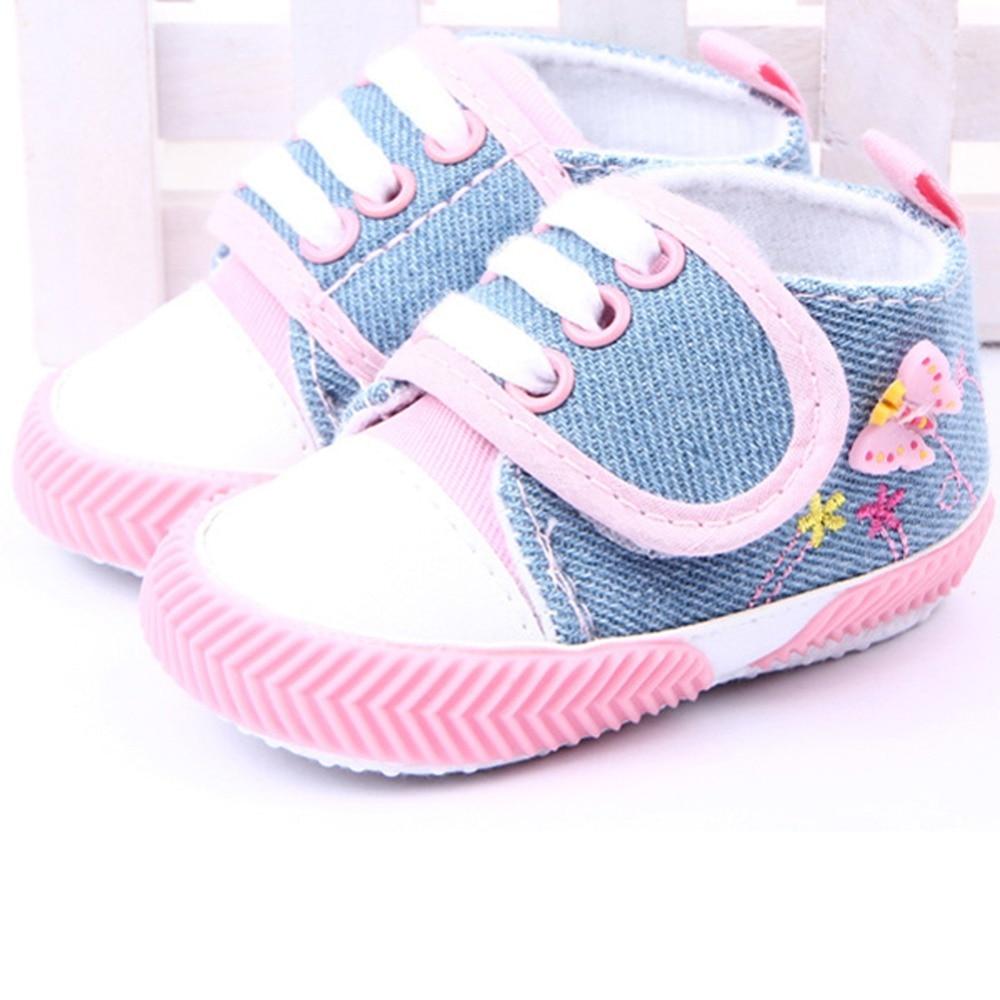 6b3d975d8 Crianças infantil meninas borboleta impresso sapatos de lona sola macia  sapatos Prewalker 0 - 12 M