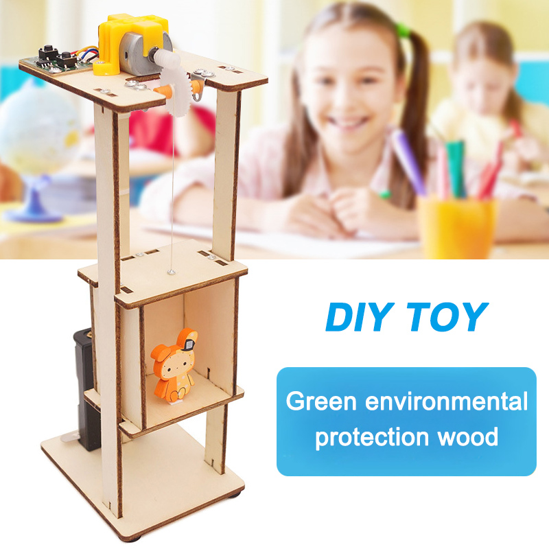 2018 New DIY Assemble Electric Lift Toys Kids Science Experiment Material Kits Toys Gifts