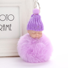 New Cute pompom keychain Sleeping Baby key chain fluffy fake rabbit fur ball women car bag pompon key ring pom pom holder Gift цена в Москве и Питере