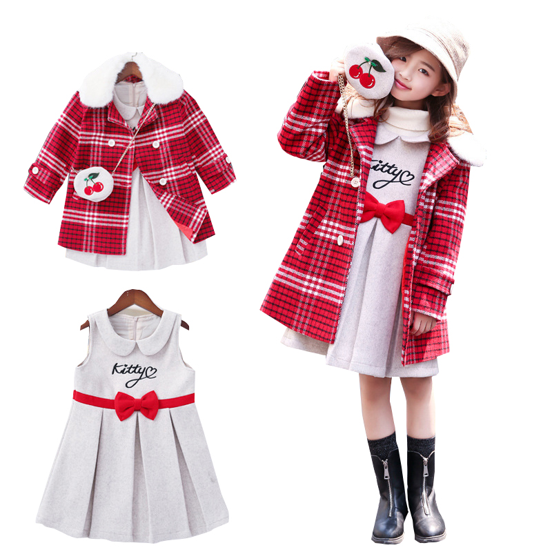 Girls Winter Clothes Red Plaid Woolen Coat Dress Children Clothing Set Christmas Fur Collar Jacket Kids Tracksuit Girls Clothing