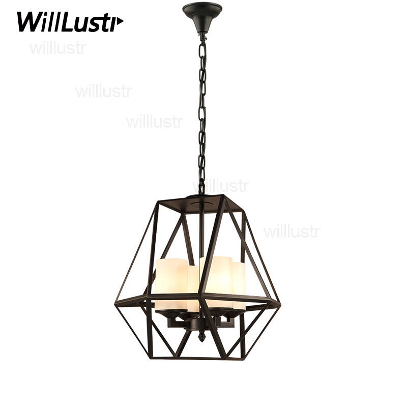 Replica Kevin Reilly GEM Pendant lamp candle chandelier Lighting metal fixture iron milk white glass shade suspension light