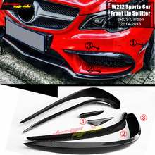 цена на For Benz W212 Front Lip Splitters Wing Spoiler Carbon 6-pcs E-class e200 e250 e400 e350 e500 e550 Front Bumper Splitter 2014-16