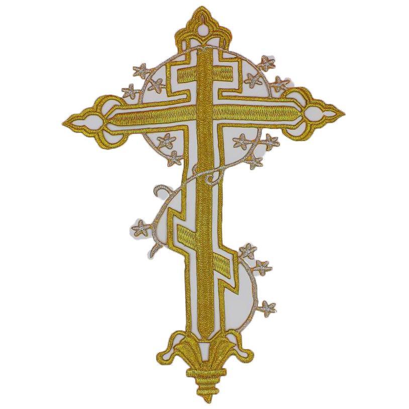 YACKALASI 5 Pcs/Lot Jesus Cross Patches 3D Gold Metallic Appliqued Iron On Embroidered Flower Trims Cross 20*28cm