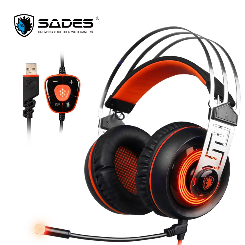 SADES A7 7.1 Vibration Surround Sound Stereo USB Gaming Headset Bass LED Noise Cancelling Headphone With Microphone For PC Gamer sades a6 usb 7 1 surround sound stereo gaming headset headband over ear headphone with mic volume control led light for pc gamer