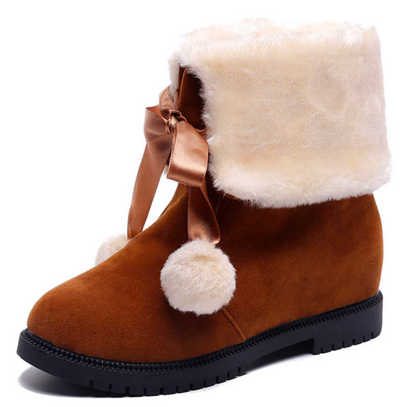 b3a25401230 ... Hair ball Women s Winter Snow Boots Woman Platform Ankle Boot Red Warm  Cotton Down Shoes Women s ...