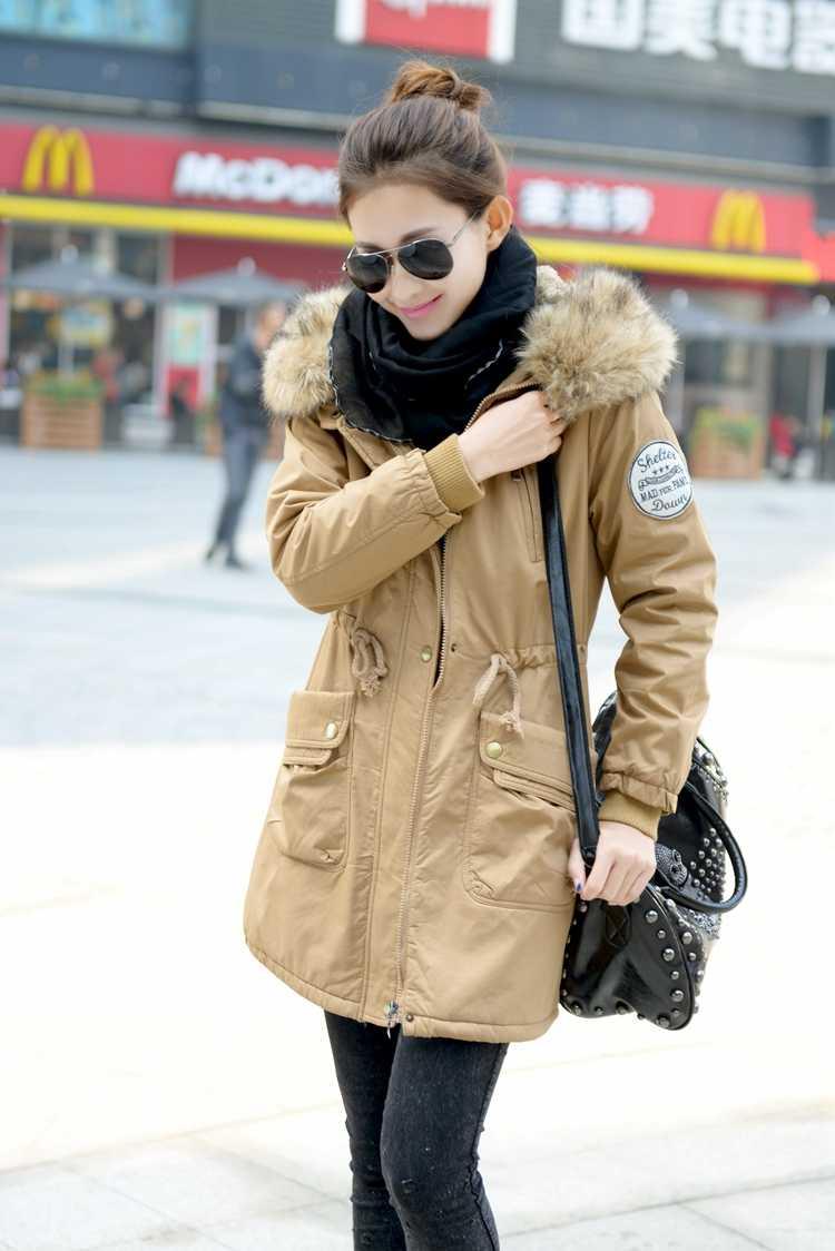 ФОТО 2013 New Winter Lady Cotton Padded Waist Slim Hooded Coat Women'S Long Thick Warm Luxury Fur Collar Khaki/Army Green Coat H1586