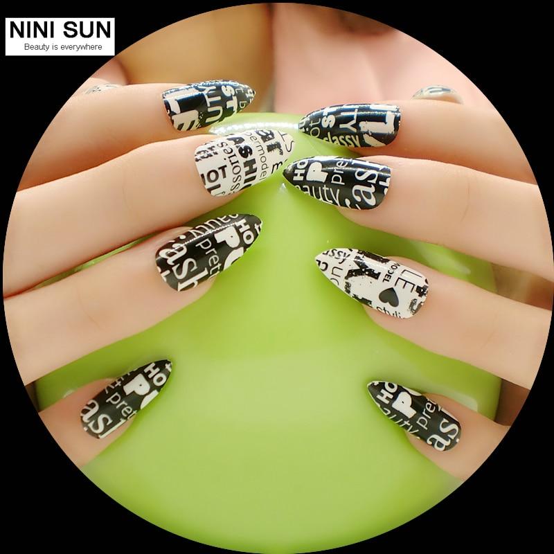 2016 stiletto nail art New Product 24Pcs Full Cover False Nail ...