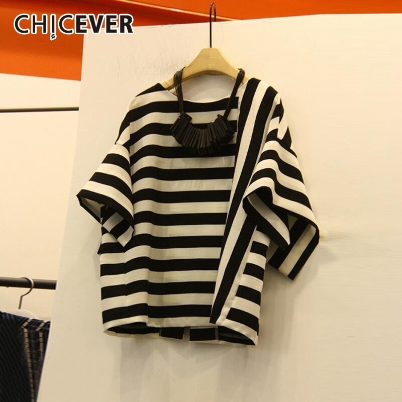 CHICEVER Striped Casual T Shirt For Women O Neck Three Quarter Sleeve Loose Clothing Top Female Fashion New Tide 2019 Summer