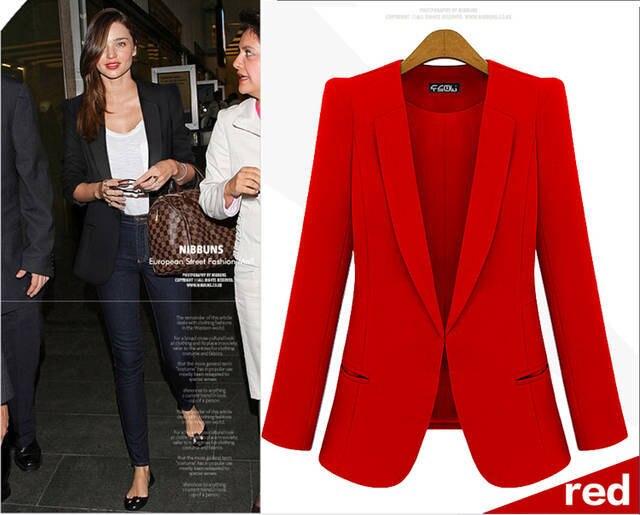 2015 Spring Blazers Women Suit foldable Black long Slim jacket ...