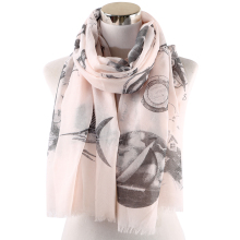 Winfox Fashion Pink Grey Fish House Print Women Soft Scarves Shawls Wraps Ladies Female Hijab Foulard