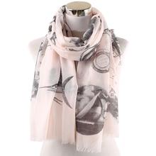 Winfox Fashion Pink Grey Fish House Print Women Soft Scarves Shawls Wraps Ladies Female Hijab Foulard