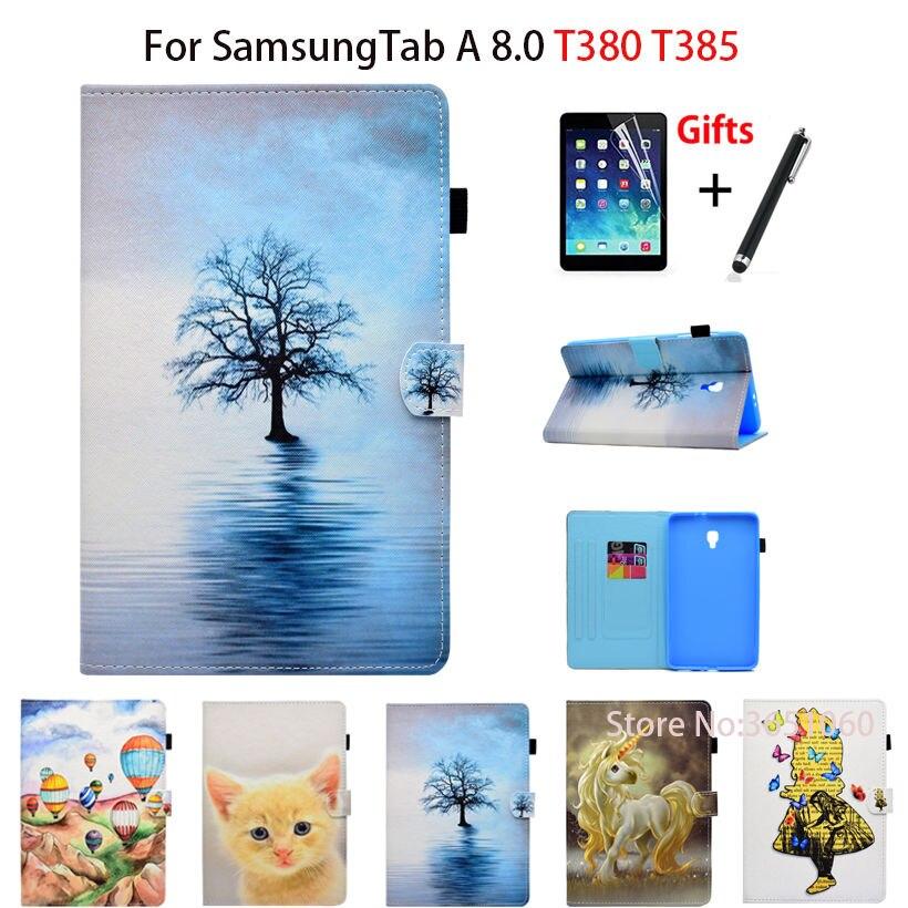 Fashion Cartoon Case For Samsung Galaxy Tab A 8.0 SM-T380 T385 2017 8.0 Inch Smart Cover Funda Tablet PU Leather Shell