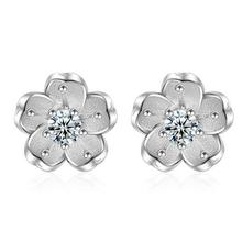 2017 new arrival high quality fashion lovely flower 925 sterling silver ladies`stud earrings women jewelry birthday gift hot