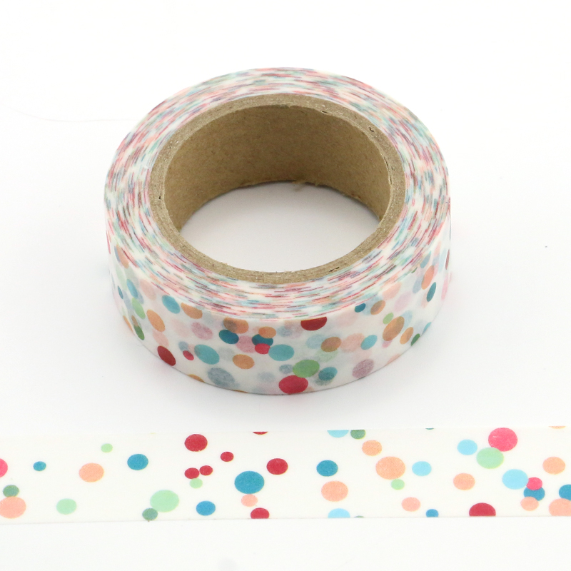 1X Cute Colorful Dots Washi Tape Decorative Adhesive Tape Decora Diy Scrapbooking Label Washi Tape
