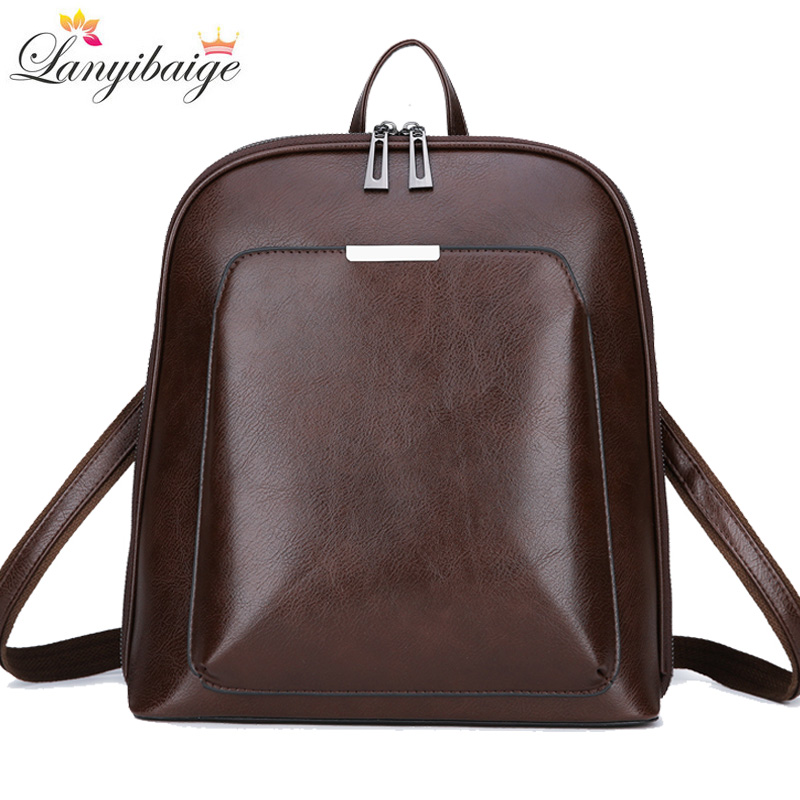 Vintage Women Backpack High Quality Leather School Bags For Girls Lady Simple Style Backpack Large Capacity Leisure Shoulder Ba