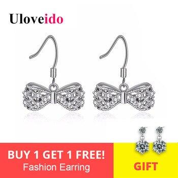 3a72ef01a23d Uloveido cristal Bowknot aretes para las mujeres 925 pendiente de plata  esterlina coreano pendientes de joyería de moda pendiente regalos Y356